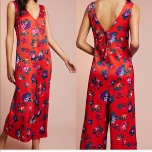 - Anthro Floreat Red Floral Jumpsuit